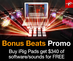 Get SampleTank 3 SE and 6 free sound libraries when you purchase and register iRig Pads!