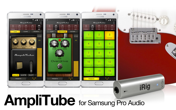 AmpliTube for Android on Samsung Professional Audio devices