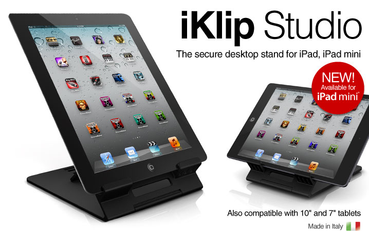 iKlip Studio - the secure desktop stand for iPad, iPad mini and 11 and 7 inches tablets