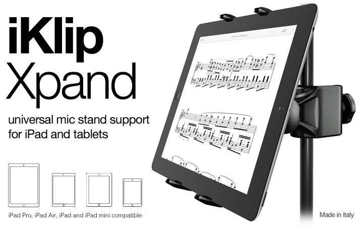 iKlip Xpand - universal mic stand support for iPad and tablets