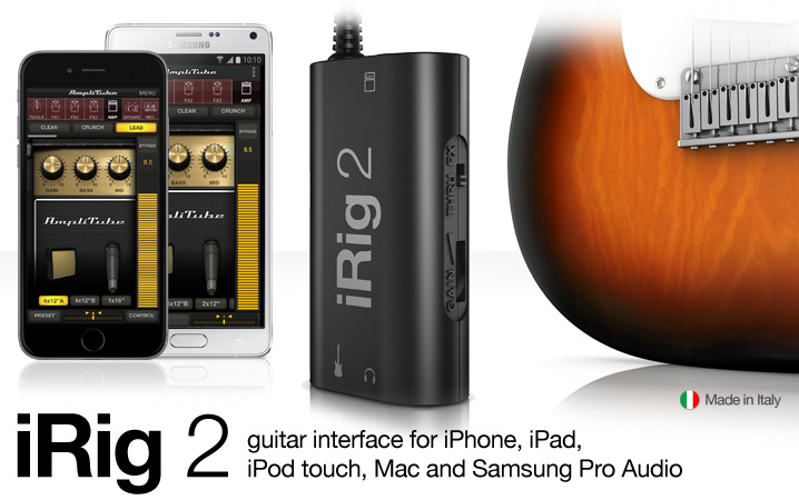 iRig 2 - guitar & instrument interface adapter for iPhone, iPod touch, iPad, Mac and Android