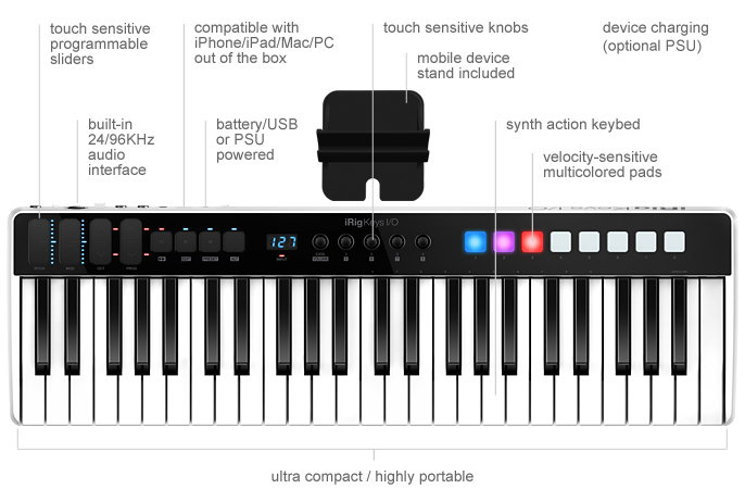 iRig Keys I/O Universal Keyboard Controller & Audio Interface