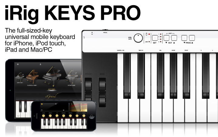 iRig KEYS PRO - The full size keys, universal mobile keyboard for iPhone, iPod touch, iPad and Mac/PC