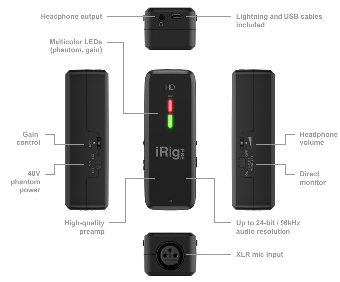 iK Multimedia iRig PRE for iOS, With Mic, Headphones and