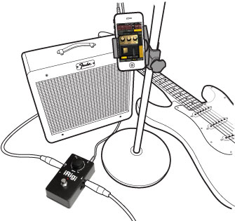 iRig STOMP with guitar, amp, and iPhone with iKlip