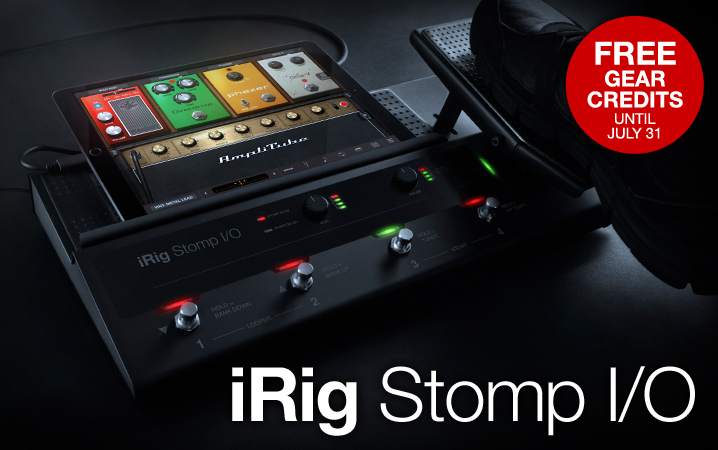 iRig Stomp I/O - USB pedalboard controller/audio interface for iOS, Mac, PC.