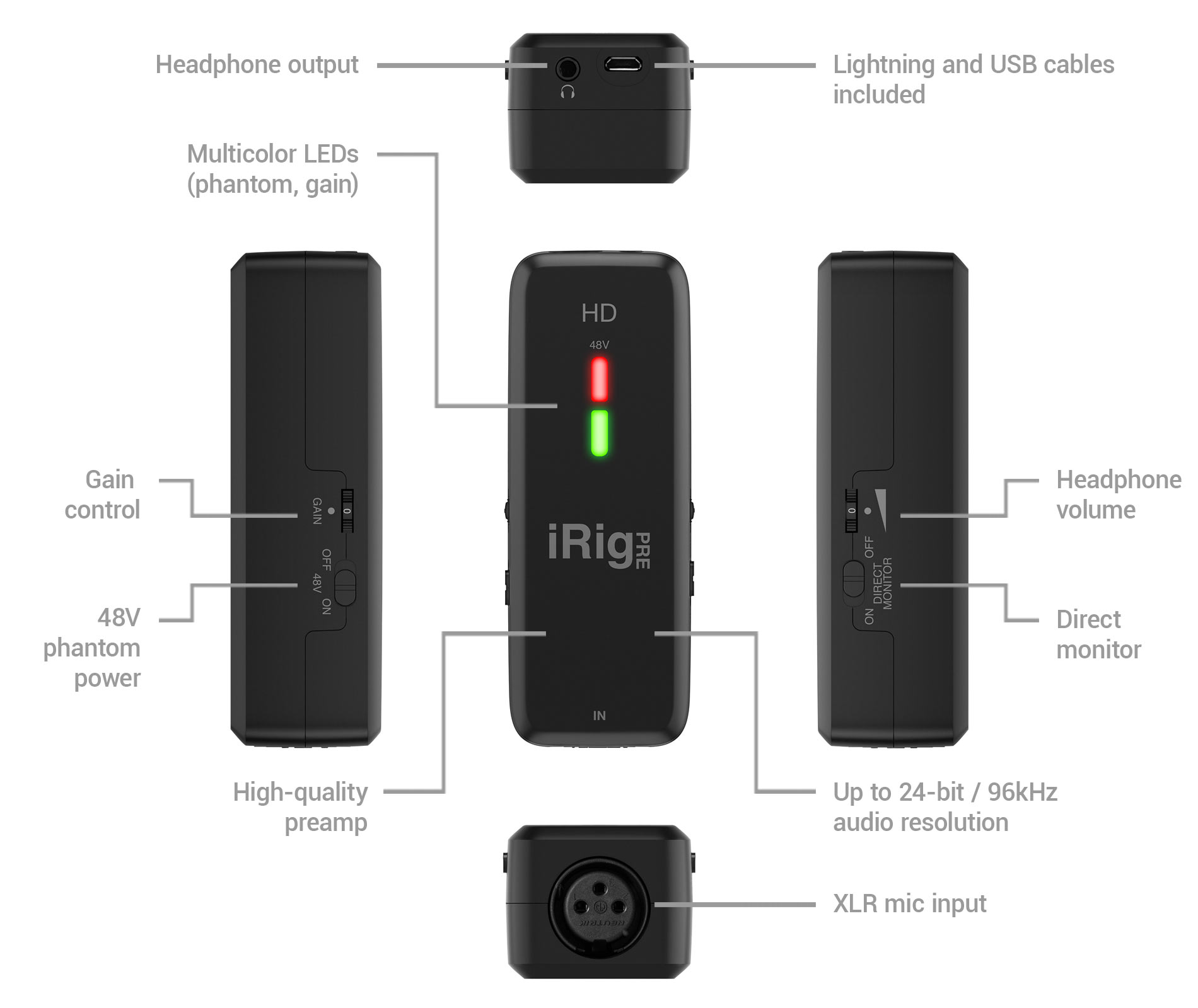 Ik Multimedia Irig Pre Hd Battery Slide Switch As Well Dynamic Microphone Circuit Diagram Its Integrated High Quality Class A Preamp Ensures That You Can Easily Record The Full Dynamics Of Sound Being Captured By Your Down To
