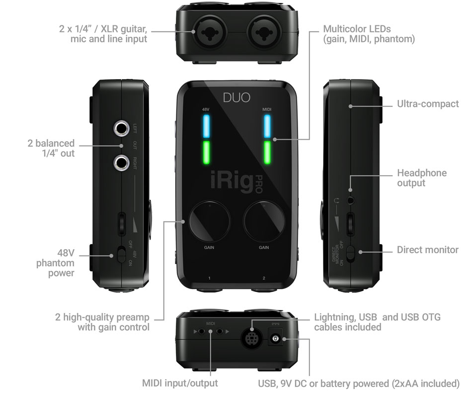 IK Multimedia iRig Pro Duo I//O Audio /& MIDI Interface
