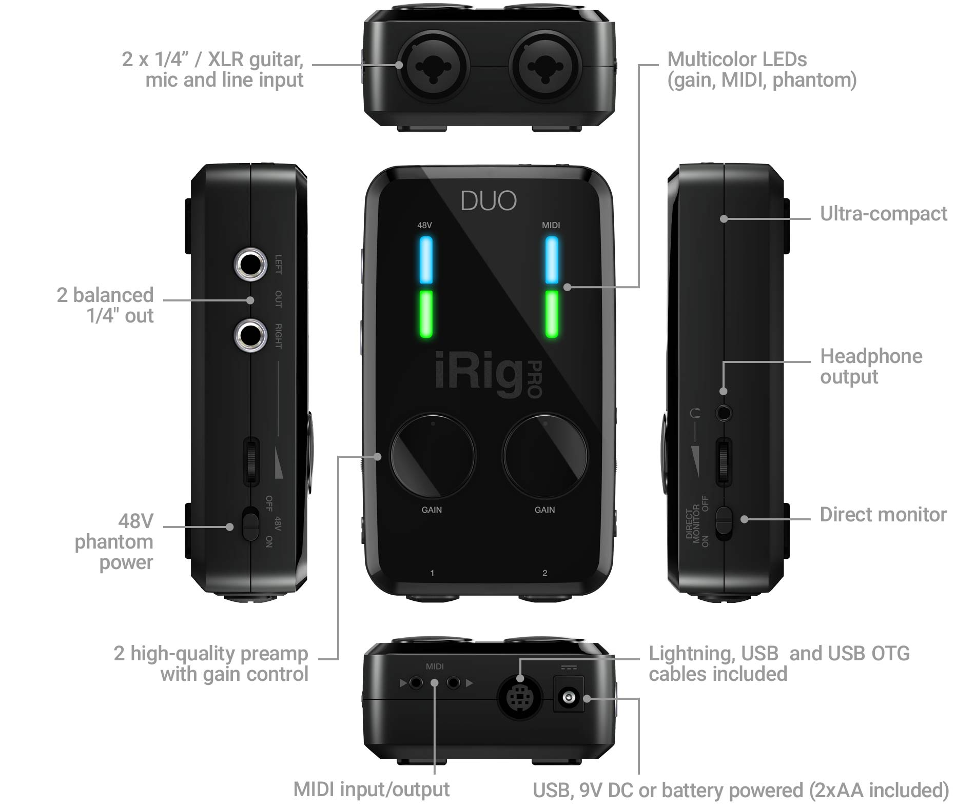 Ik Multimedia Irig Pro Duo Wiring Diagram Further For Xlr To 1 4 Stereo Jack First It Lets You Go Off The Grid And Record Great Audio Anywhere Thanks Its Comprehensive Powering Options True Mobility Can Be